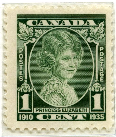 1935 Canada Silver Jubilee stamp, based on a photograph by Marcus Adams Queen Elizabeth II