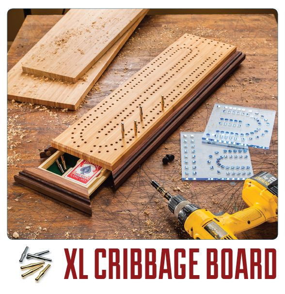 Download an XL Cribbage Board plan free here and pick out pegs for your new board.