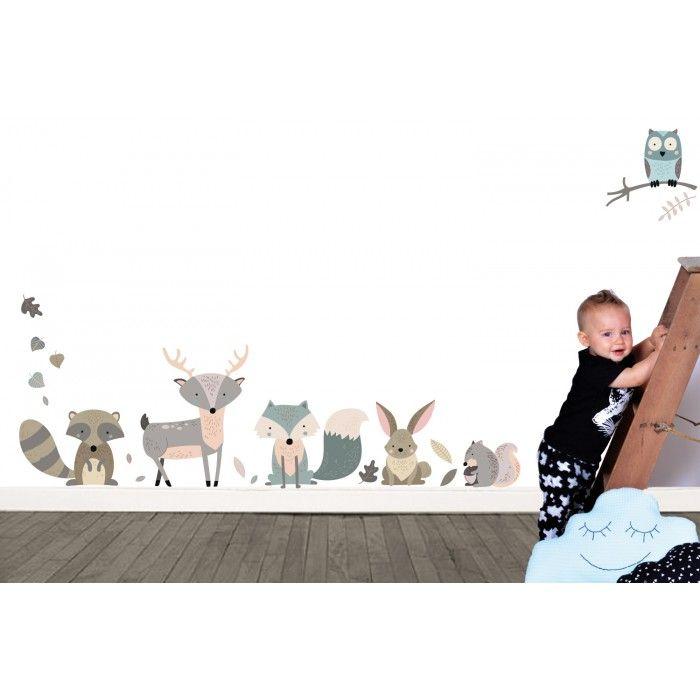Zoek je een muurstickers van lieve bosdieren?   KidZstijl.nl