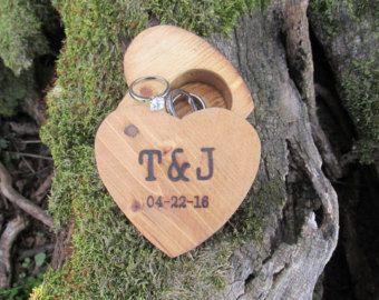 Wood Ring Box Rustic Wedding Personalized от rusticcraftdesign