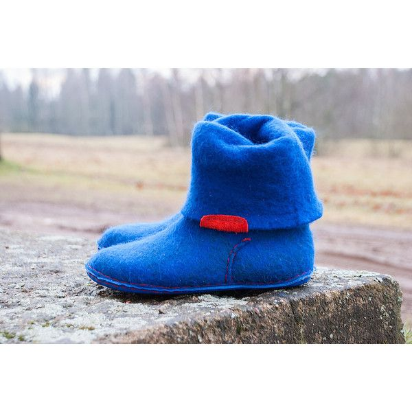Women Spring Boots Red Blue Red Green Gray Felted Boots Handmade Shoes... (€110) ❤ liked on Polyvore featuring shoes, slippers, booties & ankle boots, boots, grey and women's shoes