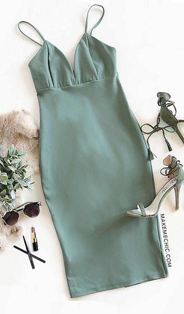 Army Green Spaghetti Strap Slip Dress