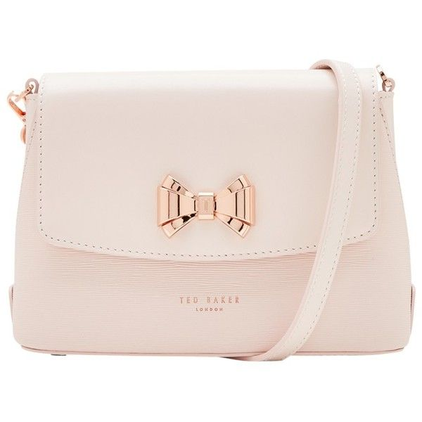 Ted Baker Tessi Curved Bow Leather Across Body Bag , Baby Pink (230 CAD) ❤ liked on Polyvore featuring bags, handbags, shoulder bags, baby pink, handbags crossbody, purse crossbody, leather man bags, pink leather handbags and leather crossbody purse