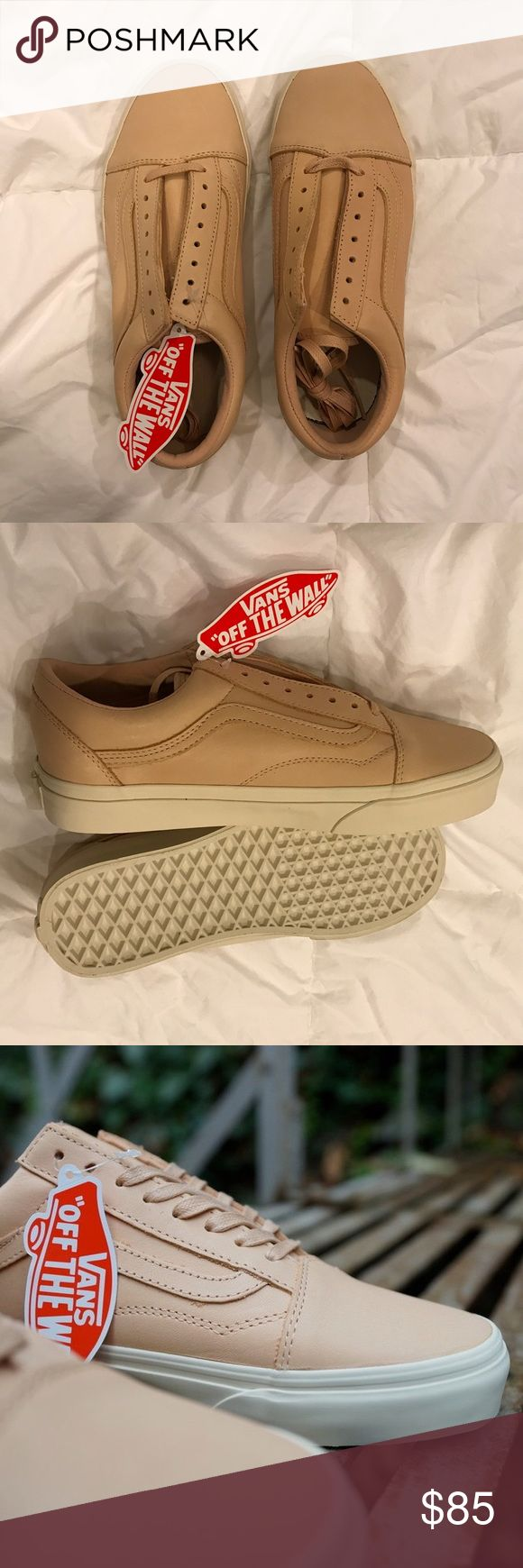 FLASH SALE! Vans Old Skool Tan Leather Brand new and never even tried on. Beautiful tan leather Old Skool Vans. Women's size 8 or Men's 6.5. Vans Shoes Sneakers