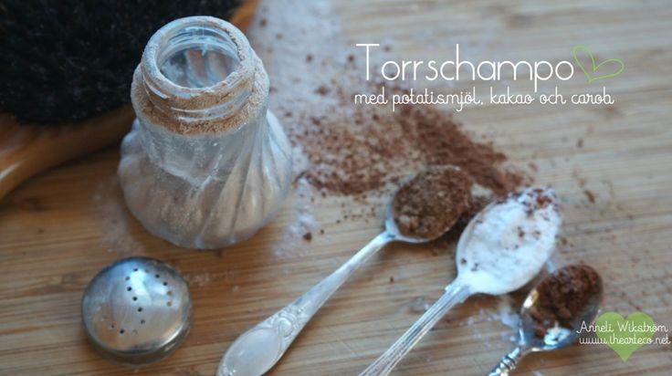 Hemgjort torrschampo med färg från kakao och carob
