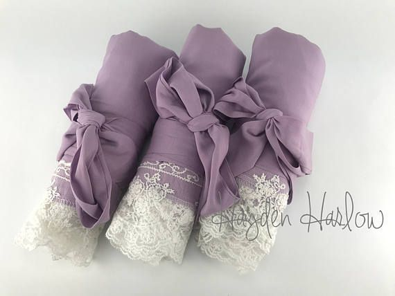 Our solid color cotton and lace trim dressing robes have soft drape and super lux texture. The cuffs and hemline are trimmed with ivory chantilly lace trim. Perfect for bridesmaid gifts and bridal shower favors. 38 length from shoulder (for shorter length- 35- please select petite),