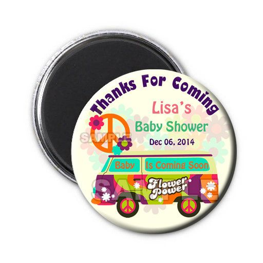 hippie baby shower thank you magnets,baby shower save the date magnet,Hippie theme baby shower,Hippie baby shower girl,hippie magnet favor