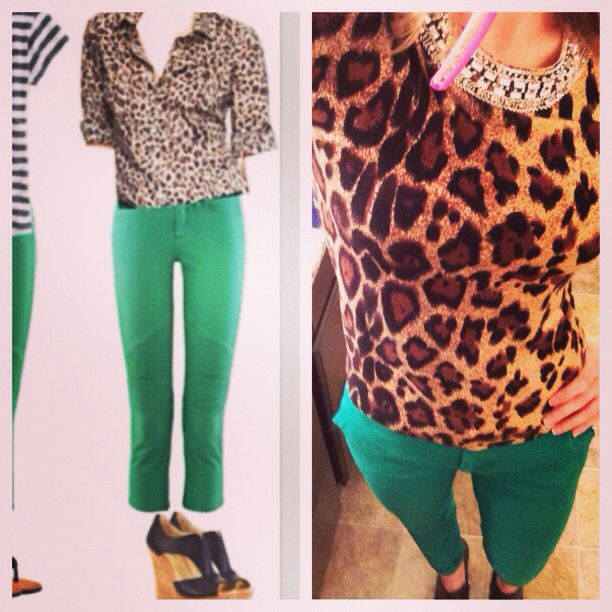 Teacher style. Pinterest inspired. Leopard sweater. Kelly green pants. Third grade fashionista.