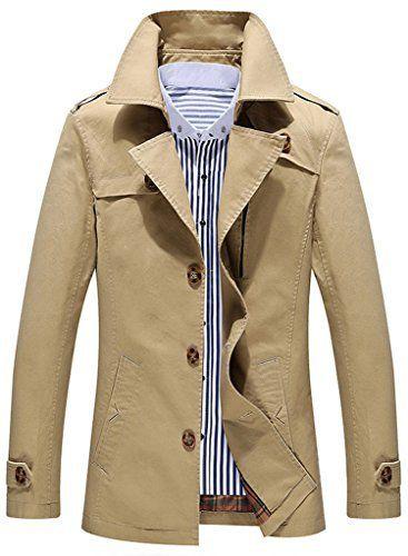 Sawadikaa Veste Blousons Manches Longues Tranchée Coton Coupe-Vent Homme Kaki Clair X-Large: Tweet Manteau Veste Homme Notre marque:…
