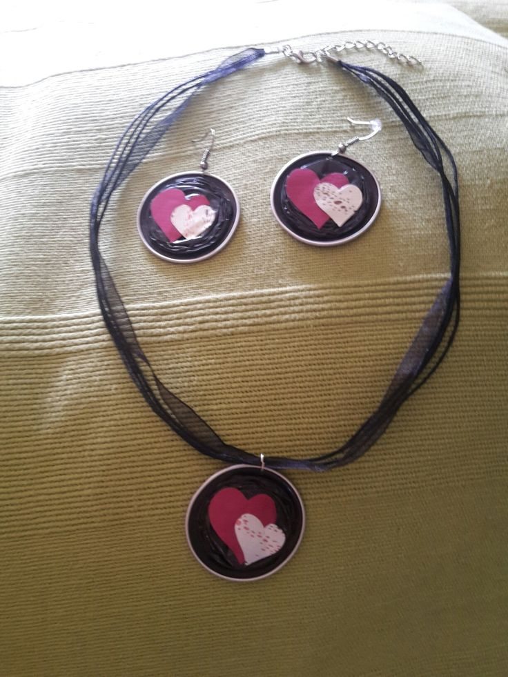 Pink heart - Nespresso capsule necklace and earrings
