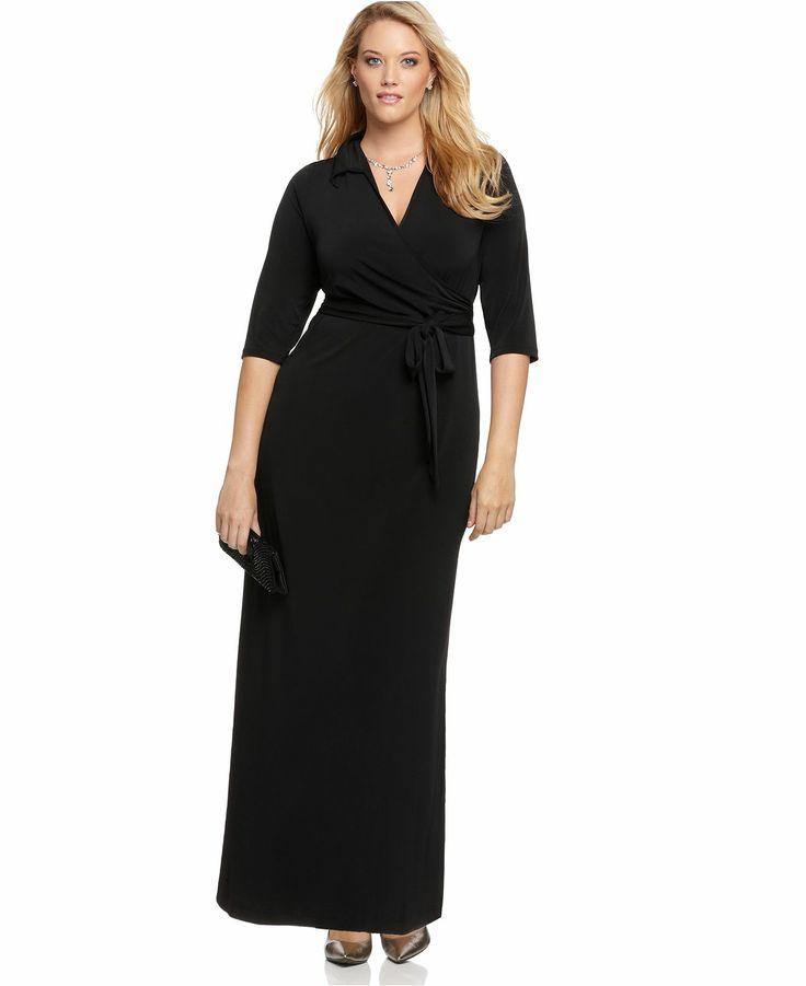 NY Collection Plus Size Dress, Faux Wrap Maxi - Long Maxi Dresses - Macy's