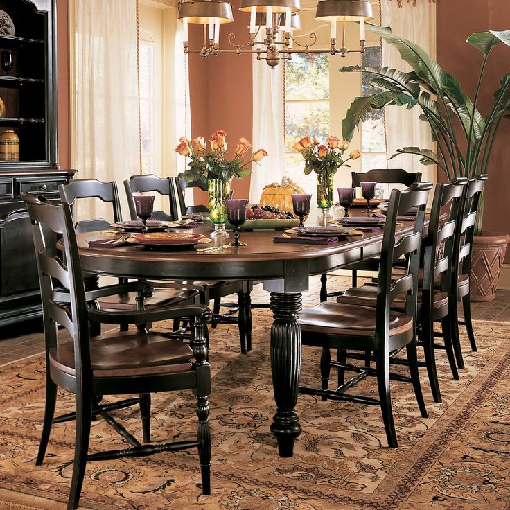 Hooker Furniture Indigo Creek 9 Piece Oval Dining Set