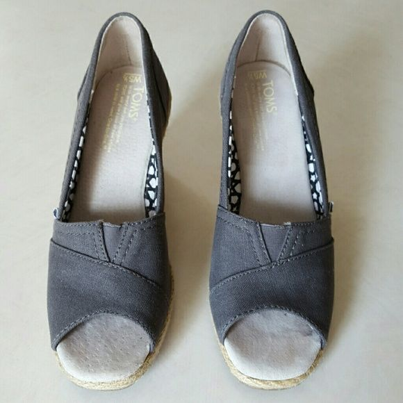 Toms Wedge Sandals-Gray Size 5.5 Gently used Toms wedges with minimal wear. The sole is the classic super comfortable Toms sole we all love!  Retails new for $69. TOMS Shoes Wedges