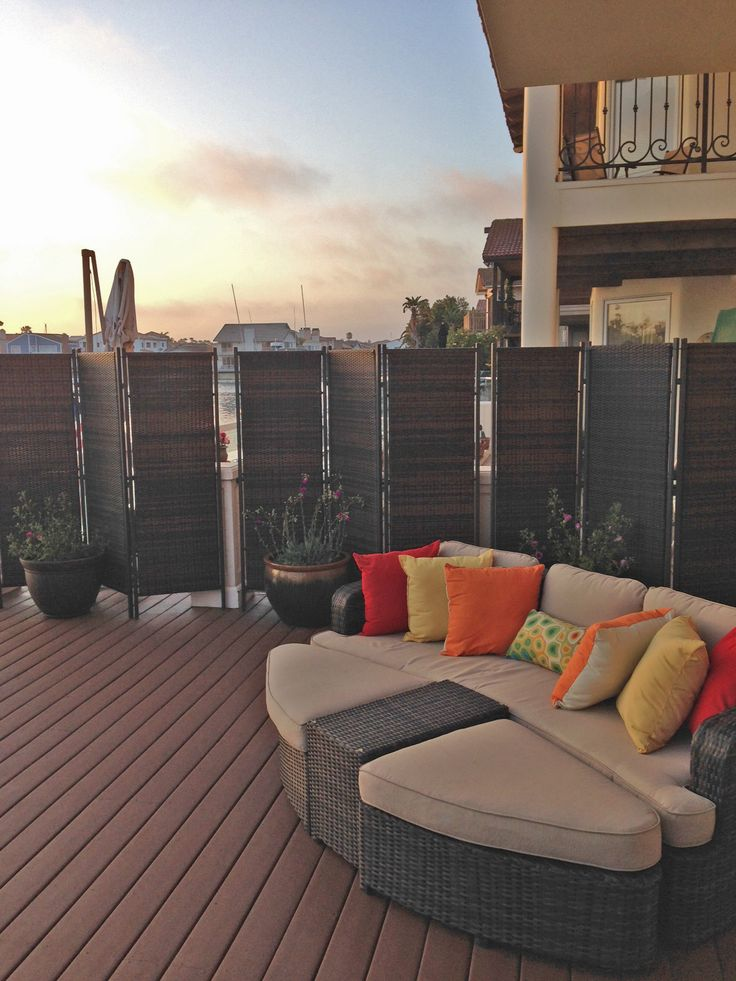 Amazing Great Design Ideas Of Outdoor Partition With Dark Brown Wicker Wooden  Folding Shape Partition And Combine With Metal Posts And Plant Pot  Ornaments Ideas For ...