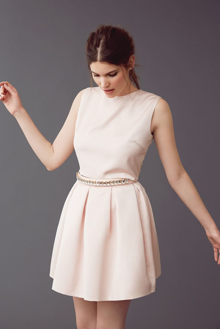 Mix & match your perfect dress! OLIVIA-LOU in faded blush with a crystal belt in nude.