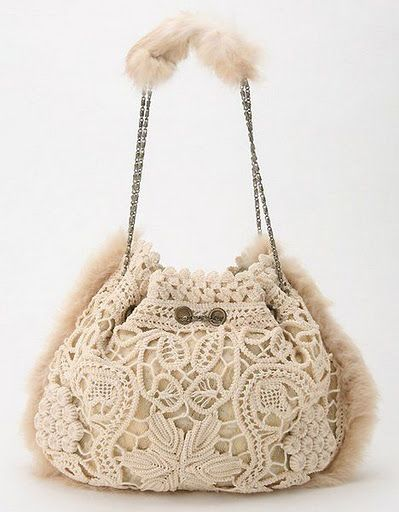 irish crochet & rpl  purse..