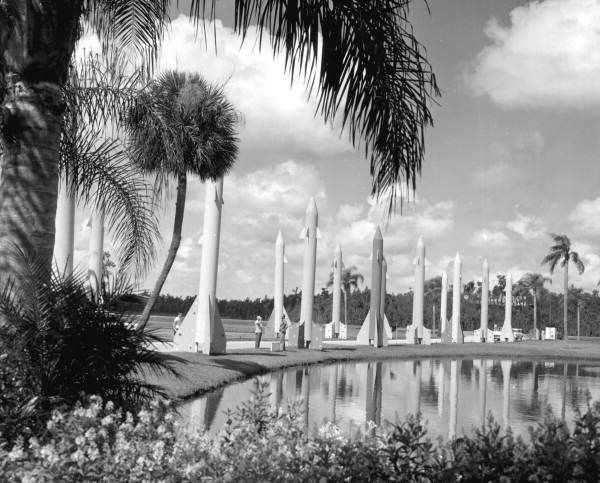A colonnade of pastel missiles displayed at the Tupperware Jubilee - 1960 - Orlando, Florida, photo by Jim Stokes