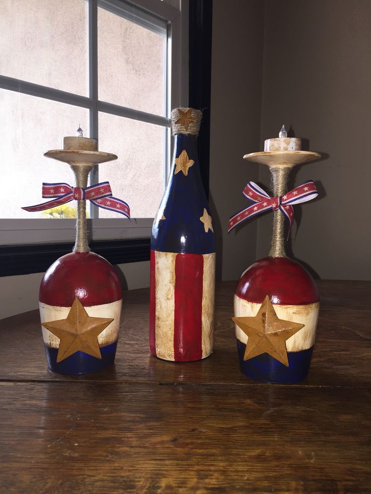 Patriotic Wine Glasses Candle Holders Wine Bottle Crafts