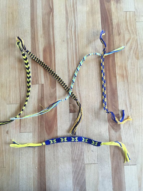 Handmade string bracelets! Pack of 5 maize and blue friendship bracelets, including one with a Block M! Great for gifts for your favorite