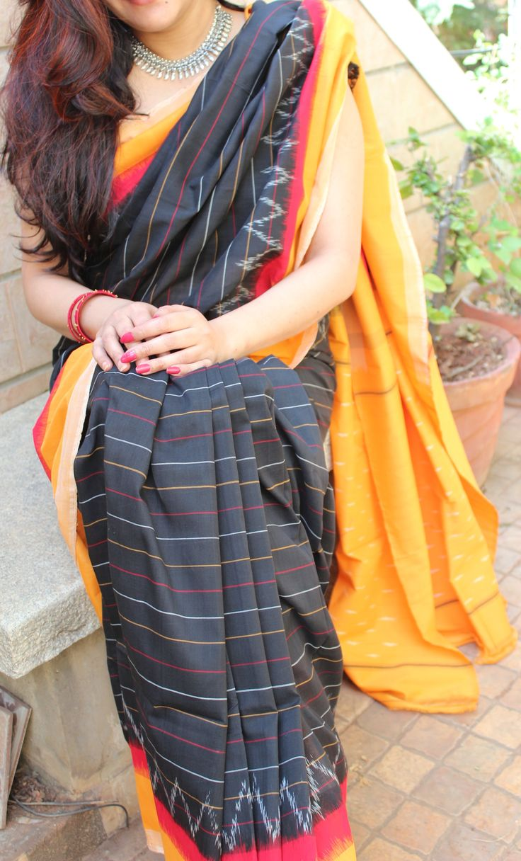 MESMERIZING BLACK IKKAT COTTON SAREE WITH ATTRACTIVE CONTRAST BORDER