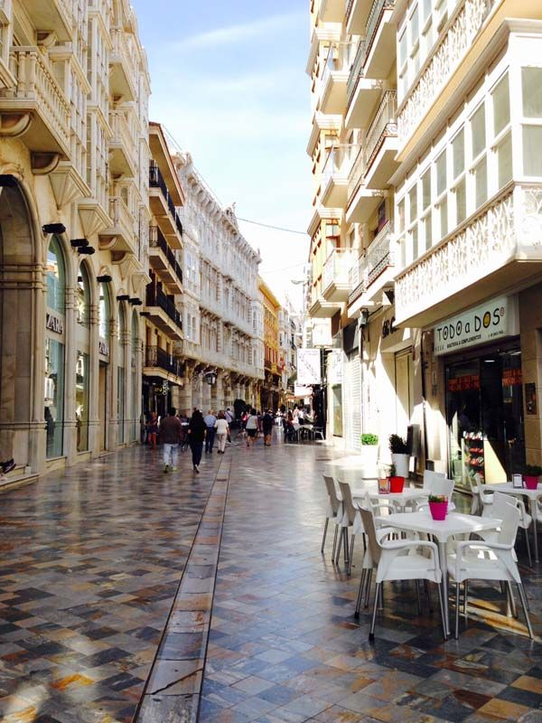 Shopping and Cafes in Historic Cartagena Spain
