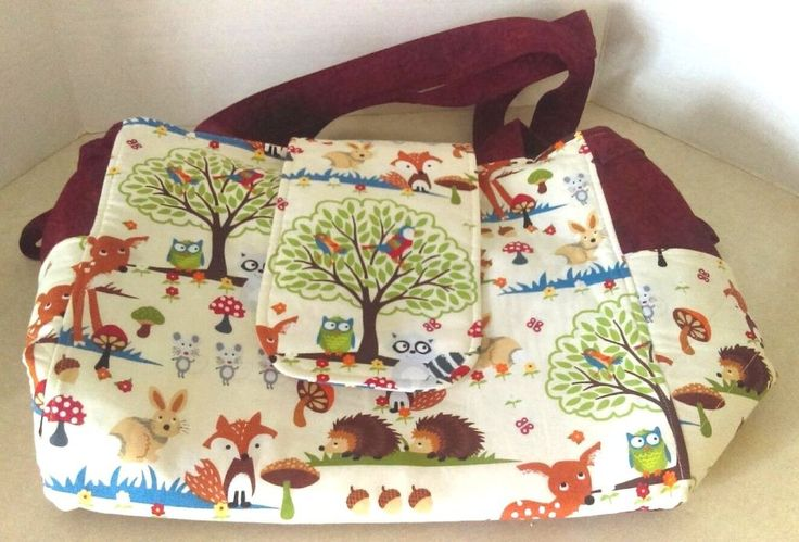 "Handmade Forest Animal Print Tote Bag Purse Diaper Bag 14""x12""x7"" Magnetic Snap #Handmade #ShoulderBag"