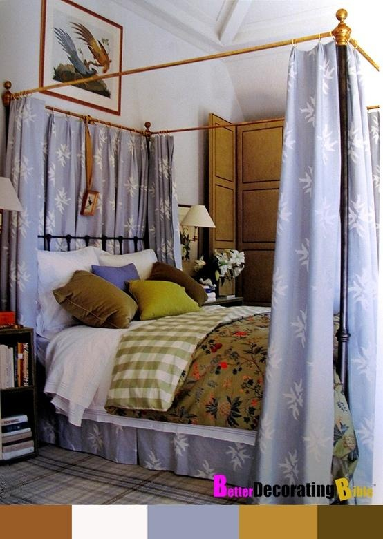 Eclectic bedroom, nice combo of print, check, texture...not all matchy.