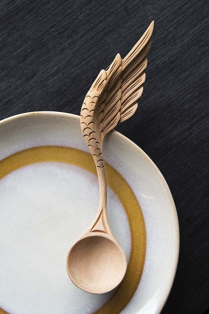Hand Carved Wooden Spoon Angel Wing From Rockett St George Art
