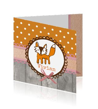 Geboortekaartje meisje met oranje stippen patroon en vos. Birth announcement card girl with fox. Studio Elli & Zo, Mycards.nl