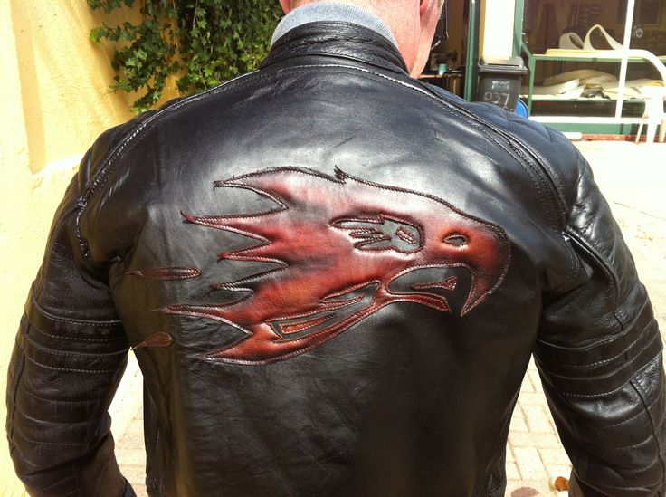 Custom Flaming Eagle cut, dyed, padded and stitched on to a Jacket
