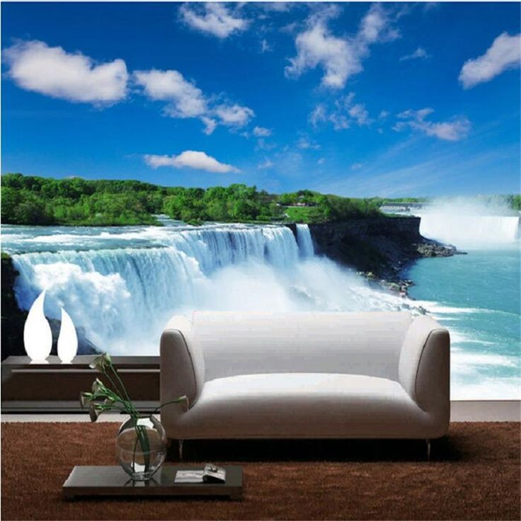 13.60$  Watch now - http://ali2vm.shopchina.info/1/go.php?t=32551541307 - Custom wallpaper 3D stereo TV backdrop Nature Wallpapers landscapes of the sea Bedroom Living Waterfalls wall mural painting  #magazineonline