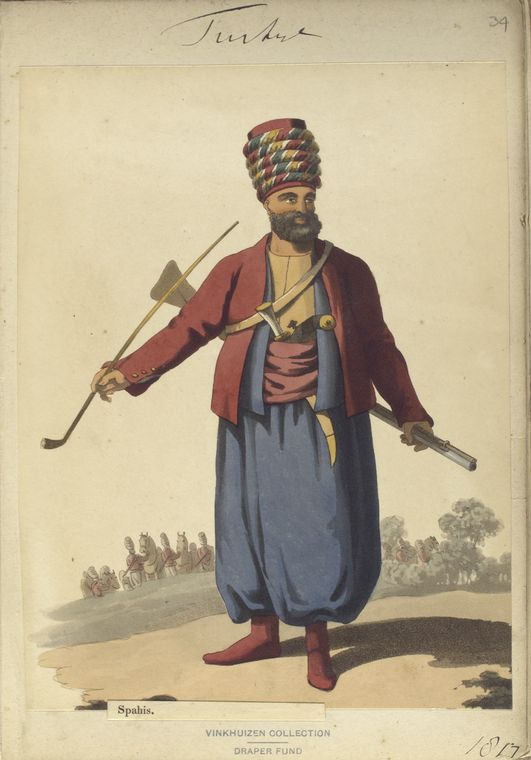 Spahis, or light cavalryman, the principle cavalry of Turkey. The Vinkhuijzen collection of military uniforms / Turkey, 1818. See McLean's Turkish Army of 1810-1817.