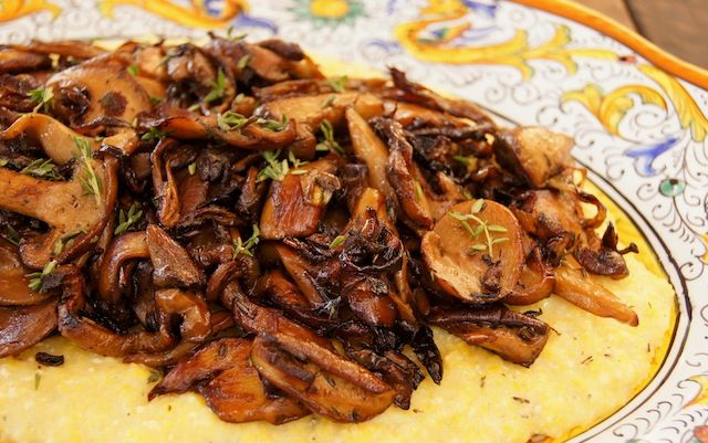 Sherried Wild Mushrooms with Creamy Parmesan Polenta | Recipe