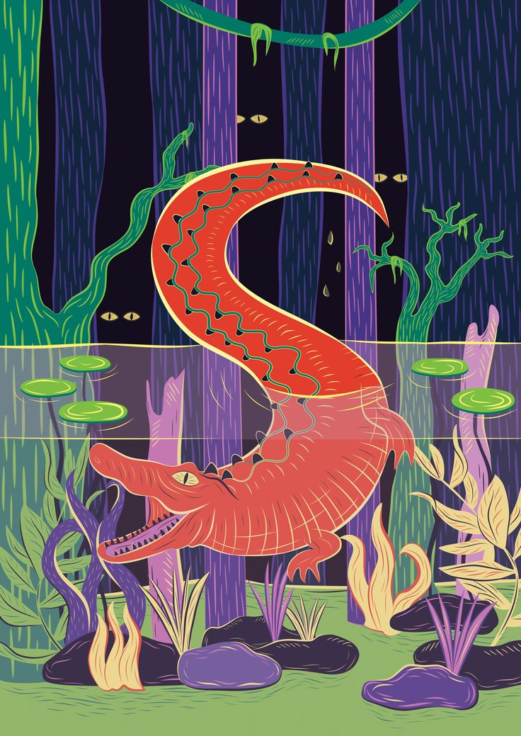A poster design I did as a student project #crocodile #Swamp #illustration #underwater