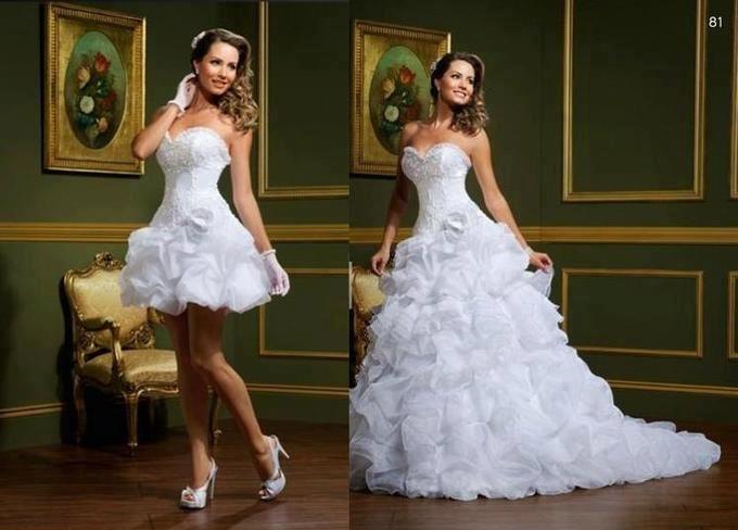 Vestidos de noiva curto com saia removível