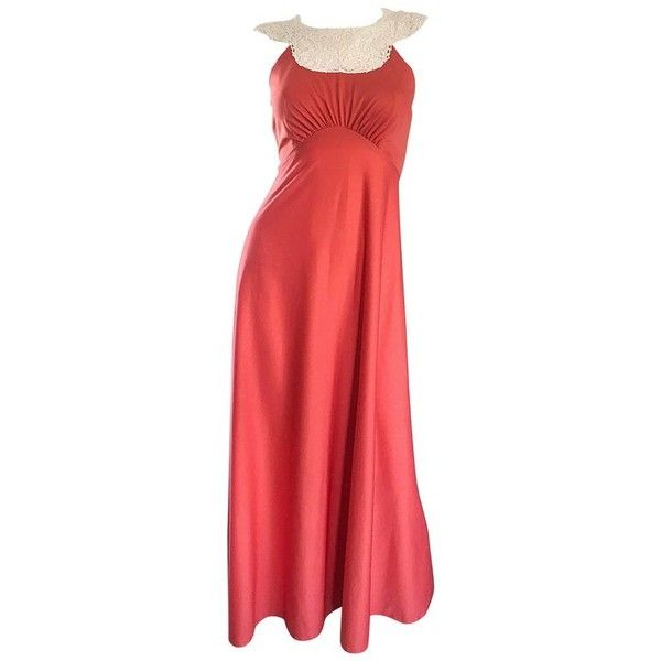 Preowned 1970s Coral Salmon Pink Jersey + Crochet Lace Collar 70s... ($725) ❤ liked on Polyvore featuring dresses, gowns, maxi dress, red, crochet maxi dresses, coral maxi dresses, pink maxi dress, red dress and vintage dresses