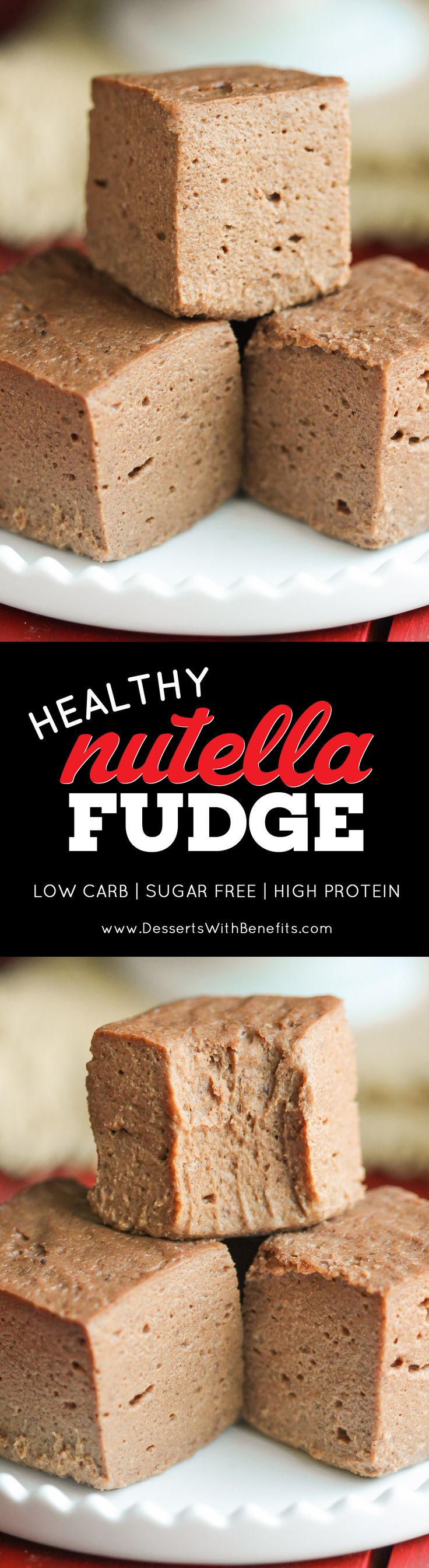 This Healthy Nutella Fudge is sweet, chocolatey, fluffy, and delicious. Oh, and it's made with two secret ingredients! Can you guess what they are? This addicting fudge is packed full of protein, fiber, and healthy fats, and none of the added sugar or artificial ingredients. It sure doesn't taste low calorie, sugar free, low carb, high protein, high fiber, and gluten free!