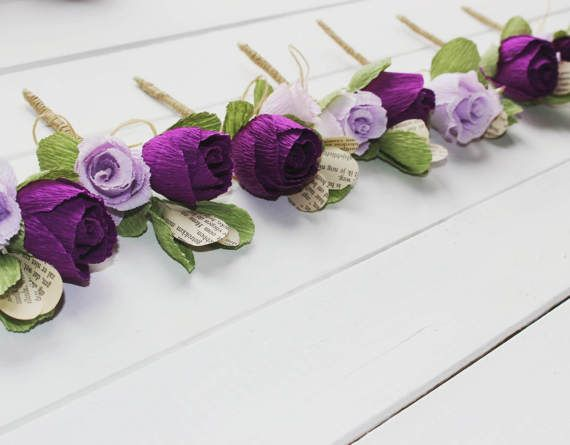 BUTTONHOLE rustic wedding button hole crepe paper by moniaflowers