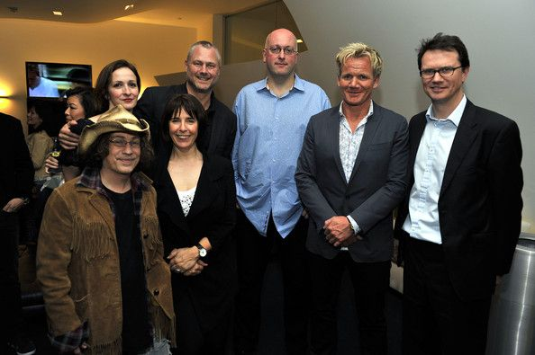 """Gordon Ramsay Adeline Ramage Rooney, Sean Perry, Ben Adler, Gordon Ramsay, Peter Rice, Mike Darnell and Pat Llewellyn pose for a picture at the Launch of Gordon Ramsay's """"One Potato Two Potato Inc"""" production company on March 18, 2010 in Beverly Hills, California."""