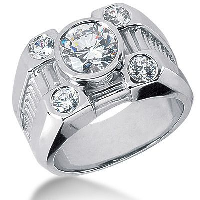Platinum Men's Diamond Ring 2.80ct
