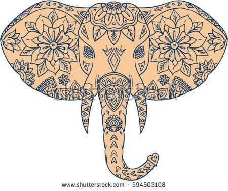 Mandala style illustration of an elephant head viewed from front set on isolated white background.   #elephant #mandala #illustration