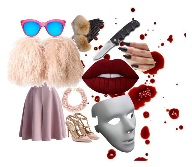 """"""""""" by meytaastuti on Polyvore featuring FRR, Chicwish, Daizy Shely, Le Specs, Valentino, Kenneth Jay Lane and Lime Crime"""