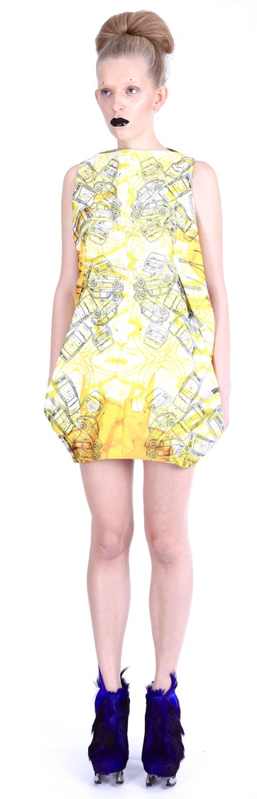 """Dress ( printed satin, """"Fiat 126p """" pattern), shoes ( leather, stainless-steel heel)"""