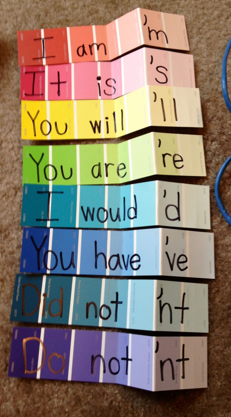 Paint strips to teach contractions :) Update: I am so embarrassed. I created these quickly when I was in college. I just now (three years later) went back to look at them and realized my not contractions are written incorrectly. Did + not is written as did'nt instead of didn't. If you are using this idea, please note that my contractions are not spelled correctly. Sorry!