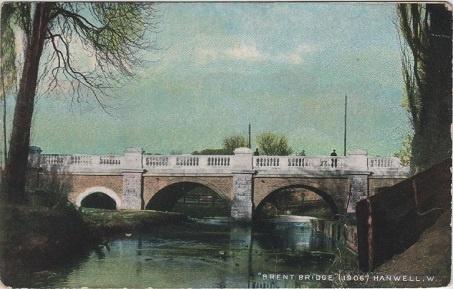 Brent Bridge, Hanwell, Middlesex, London, vintage postcard, c.1907.