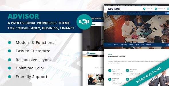 Advisor  - A Professional WordPress Theme for Consultancy, Business, Finance