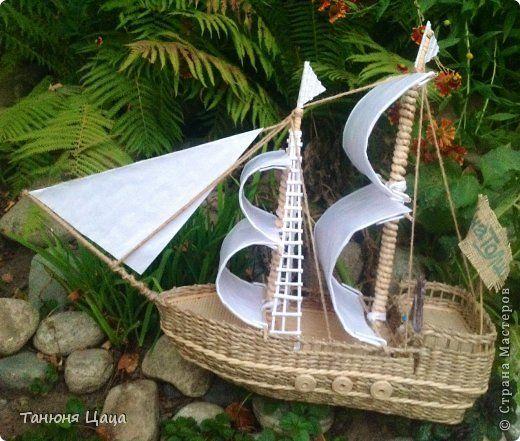 Поделка изделие День рождения Плетение Кораблик Бумага газетная фото 1