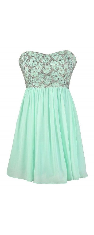 Stars In The Sky Sequin Lace Overlay Designer Dress by Minuet in Pale Mint