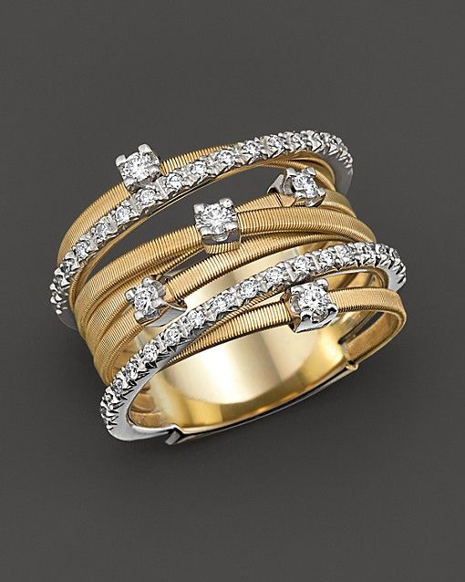 Marco Bicego 18K Yellow Gold Goa Seven Row Ring with Diamonds | Bloomingdale's