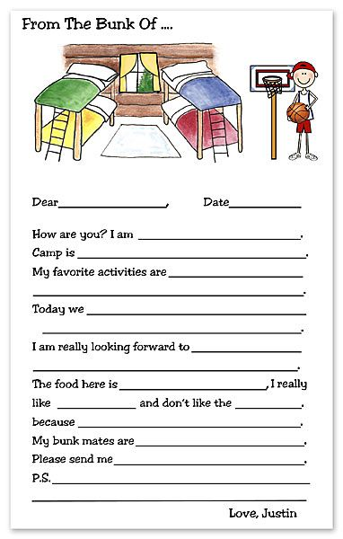 For little ones heading off to sleep-away camp - a handy printable to help them write home